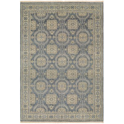 Brian Hand-Knotted Blue/Beige Area Rug Rug Size: Rectangle 96 x 139