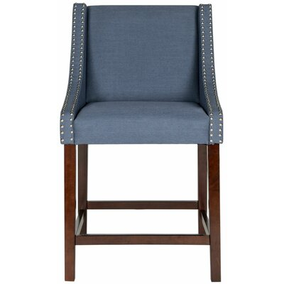 Dunigan 39.5 Bar Stool Upholstery: Navy