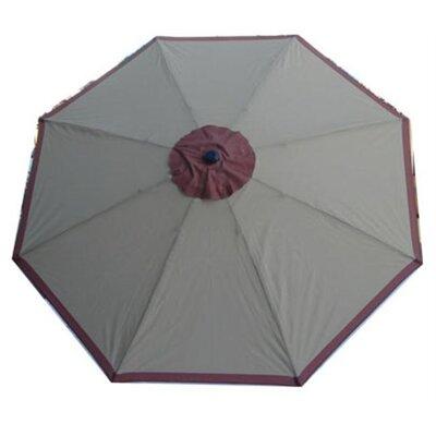 Nadine 8 Decorative Market Umbrella Fabric: Grey/Burgundy Trim
