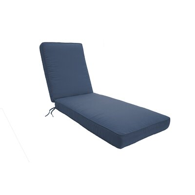 Double Piped Chaise Lounge Cushion Size: Small, Fabric: Saphire Blue