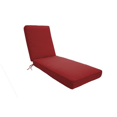 Double Piped Chaise Lounge Cushion Fabric: Jockey Red, Size: Large