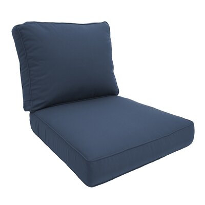 Double Piped Lounge Chair Cushion Fabric: Saphire Blue, Size: Large