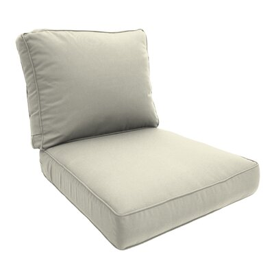Double Piped Lounge Chair Cushion Fabric: Natural, Size: Small