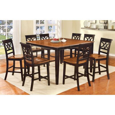 Paulette 9 Piece Counter Height Pub Dining Set Finish: Black / Cherry