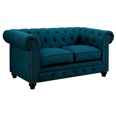 Lindstrom Tufted Loveseat Upholstery: Teal