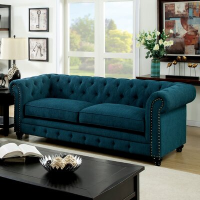 Lindstrom 90 Chesterfield Sofa Upholstery: Teal