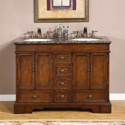 Betsy 48 Double Bathroom Vanity Set Top Finish: Baltic Brown Granite Stone