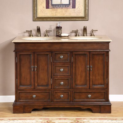 Betsy 48 Double Bathroom Vanity Set Top Finish: Travertine Stone