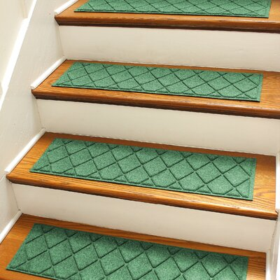 Aqua Gretchen Light Green Argyle Stair Tread