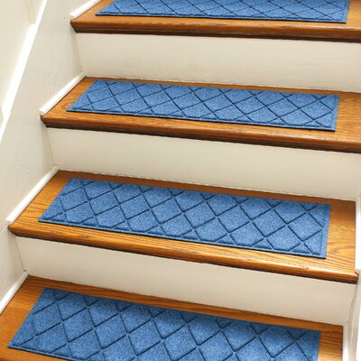 Aqua Gretchen Medium Blue Argyle Stair Tread