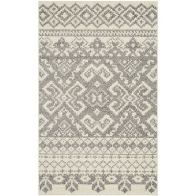 Allensby Ivory & Silver Area Rug Rug Size: Square 10