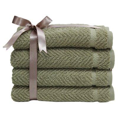 Herringbone Weave 100%Turkish Cotton Hand Towel Color: Light Olive