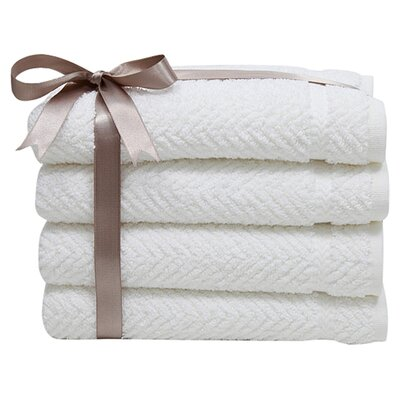 Herringbone Weave 100%Turkish Cotton Hand Towel Color: White
