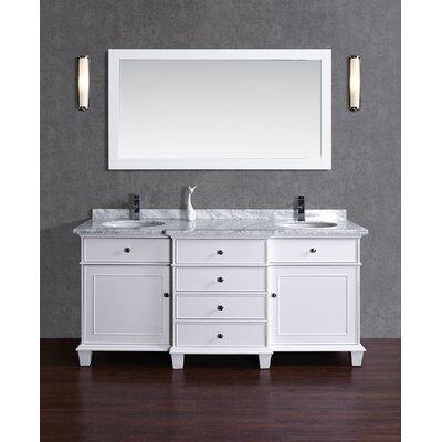 Dixie 60 Double Sink Bathroom Vanity Set with Mirror Base Finish: White
