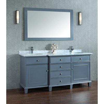 Dixie 72 Double Bathroom Vanity Set with Mirror Base Finish: Gray
