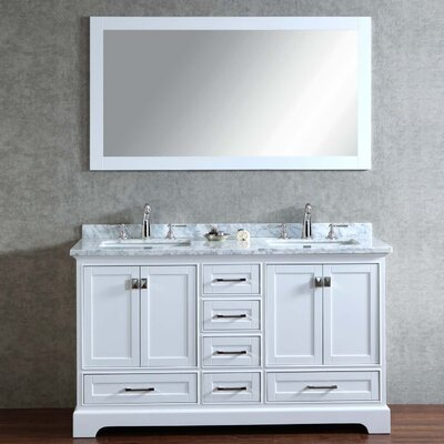 Lucia 60 Double Sink Bathroom Vanity Set with Mirror Base Finish: White