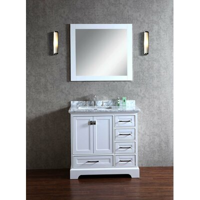 Lucia 36 Single Sink Bathroom Vanity Set with Mirror Base Finish: White