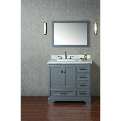Lucia 36 Single Sink Bathroom Vanity Set with Mirror Base Finish: Gray