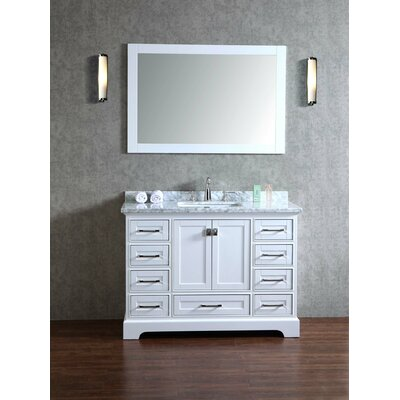 Lucia 48 Single Sink Bathroom Vanity Set with Mirror Base Finish: White