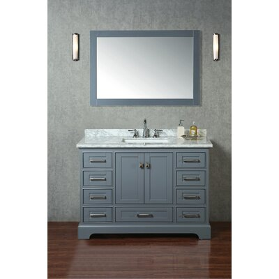 Lucia 48 Single Sink Bathroom Vanity Set with Mirror Base Finish: Gray