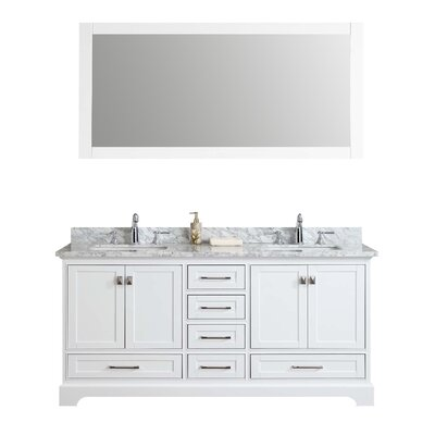 Lucia 72 Double Sink Bathroom Vanity Set with Mirror Base Finish: White