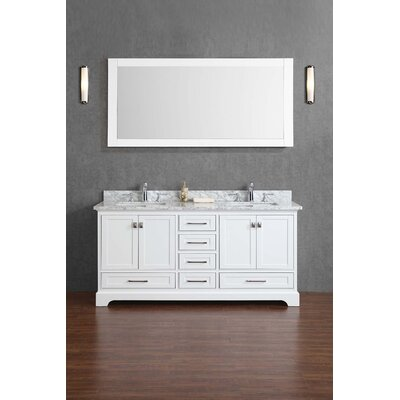 Stian 72 Double Sink Bathroom Vanity Set with Mirror Base Finish: White