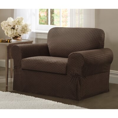 Box Cushion Armchair Slipcover Set Upholstery: Chocolate