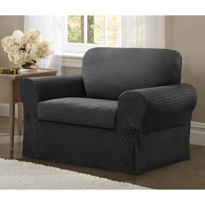 2 Piece Chair Box Cushion Slipcover Set Upholstery: Charcoal