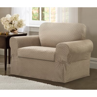 Box Cushion Armchair Slipcover Set Upholstery: Sand