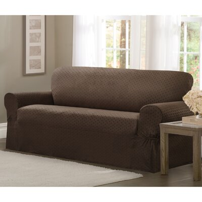 Loveseat T-Cushion Slipcover Upholstery: Chocolate