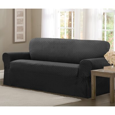 Loveseat T-Cushion Slipcover Upholstery: Charcoal