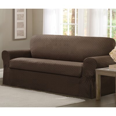 2 Piece Loveseat Box Cushion Slipcover Set Upholstery: Chocolate