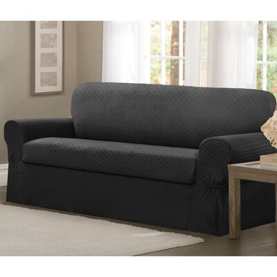 2 Piece Loveseat Box Cushion Slipcover Set Upholstery: Charcoal