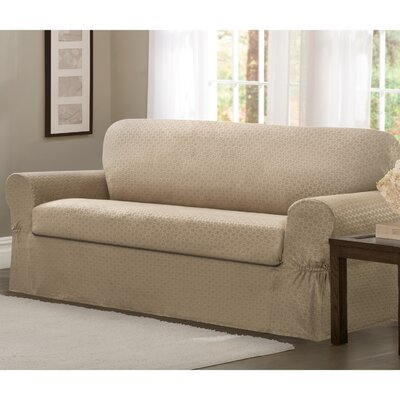 2 Piece Loveseat Box Cushion Slipcover Set Upholstery: Sand
