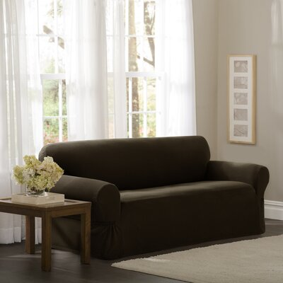 Loveseat Box Cushion Slipcover Upholstery: Chocolate