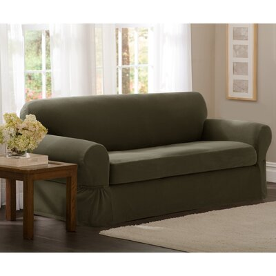 Box Cushion Loveseat Slipcover Set Upholstery: Dark Olive