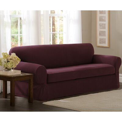 Box Cushion Loveseat Slipcover Set Upholstery: Wine