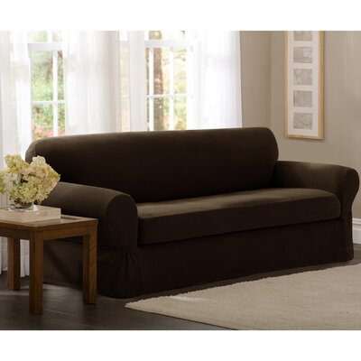 Box Cushion Loveseat Slipcover Set Upholstery: Chocolate