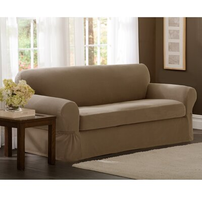 Box Cushion Loveseat Slipcover Set Upholstery: Sand