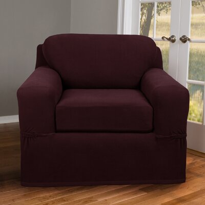 Box Cushion Armchair Slipcover Upholstery: Wine