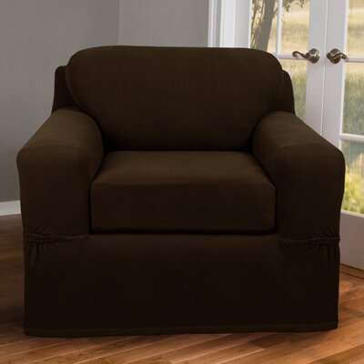 2 Piece Chair Box Cushion Slipcover Upholstery: Chocolate