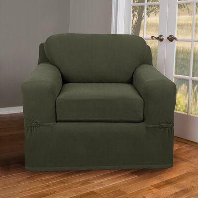 Box Cushion Armchair Slipcover Upholstery: Dark Olive