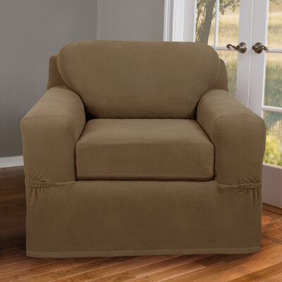 2 Piece Chair Box Cushion Slipcover Upholstery: Sand