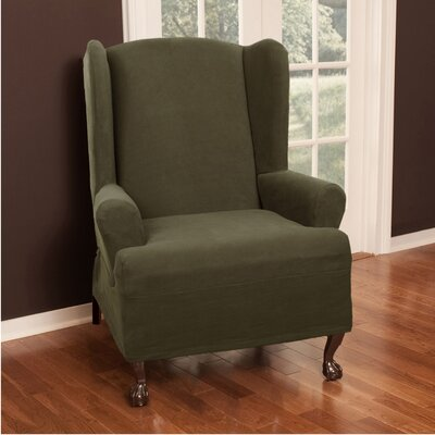 Wing Chair T-Cushion Slipcover Upholstery: Dark Olive