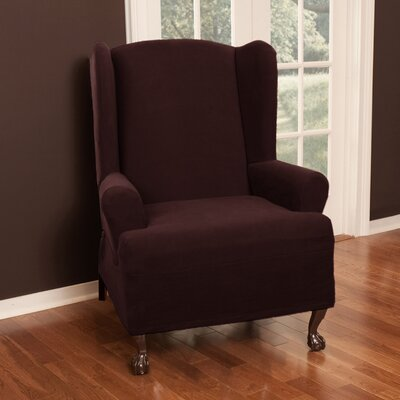 Wing Chair T-Cushion Slipcover Upholstery: Wine