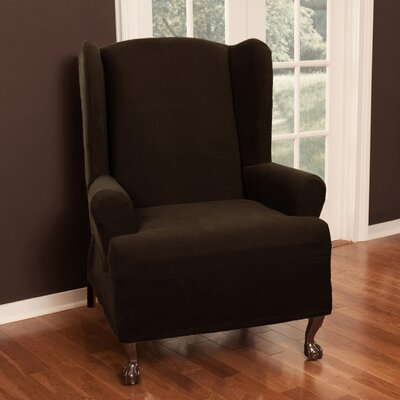 Wing Chair T-Cushion Slipcover Upholstery: Chocolate