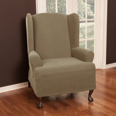 Wing Chair T-Cushion Slipcover Upholstery: Sand