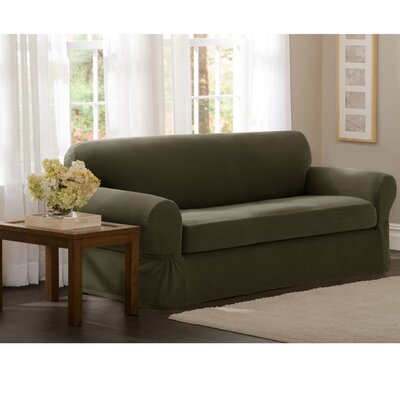 Box Cushion Sofa Slipcover Upholstery: Dark Olive