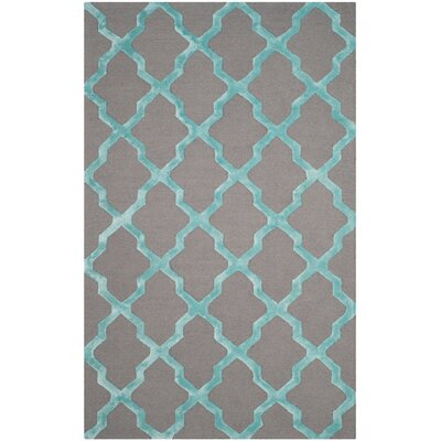 Parker Lane Hand-Tufted Gray/Turquoise Area Rug Rug Size: Rectangle 8 x 10