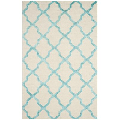 Parker Lane Hand-Tufted Ivory/Turquoise Area Rug Rug Size: 5 x 8